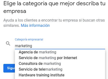 Elección de categorías en Google My Business