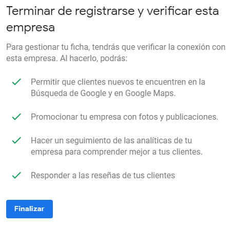 Verificar la ficha de empresa de Google My Business